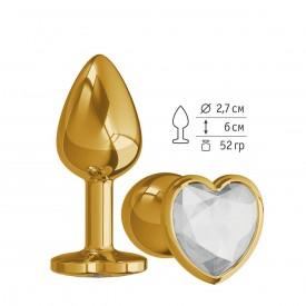 Золотистая анальная втулка с прозрачным кристаллом-сердцем - 7 см.