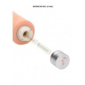 Телесный реалистичный вибратор Vibrating Dildo - 21,5 см.